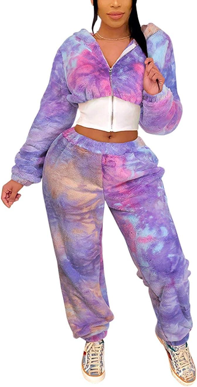 Details about  /Womens Fluffy Fleece Hoodies Long Sleeve Zipper Crop Tops+Shorts Set Loungewear