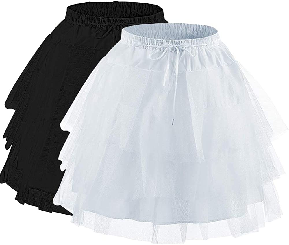 Abaowedding Flower Girls Hoopless Petticoat Slip with 3 Layers Elastic Kids Crinoline Underskirt