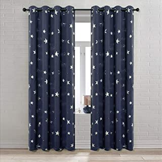 Anjee Navy Blue Blackout Curtains with Silver Stars for Boys' Bedroom, Thick Grommet Window Curtain Panels Draperies for Living Room, 52 Inches Wide by 95 Inches Long (2 Panels)