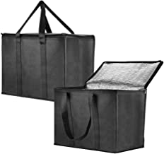Insulated Reusable Grocery Bag for Shopping in Extra Large Size with Sturdy Zipper and Reinforced Handle, Stands Upright, ...
