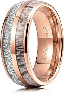 THREE KEYS JEWELRY 6mm 8mm Tungsten Wedding Ring Real Antler Imitated Meteorite Inlay Rose Gold Silver Tungsten Wedding Ring Band for Men Women