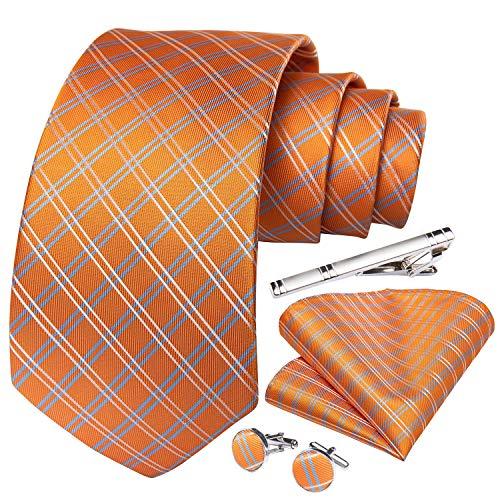 DiBanGu Krawatte, Einstecktuch, Manschettenknöpfe, Krawattenklammer, Set, formelle Hochzeit, Business Geschenkbox Gr. 85, Orange