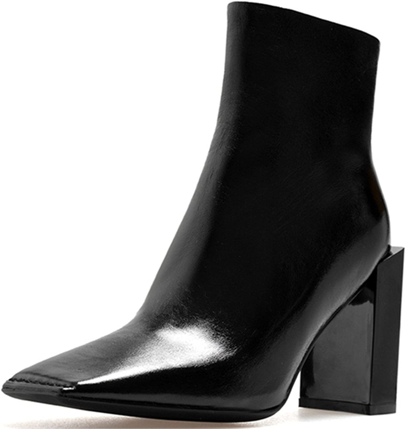 Nine Seven Genuine Leather Women's Square Toe Chunky Heel Side Zip Handmade Spunky Stunning Ankle Boots