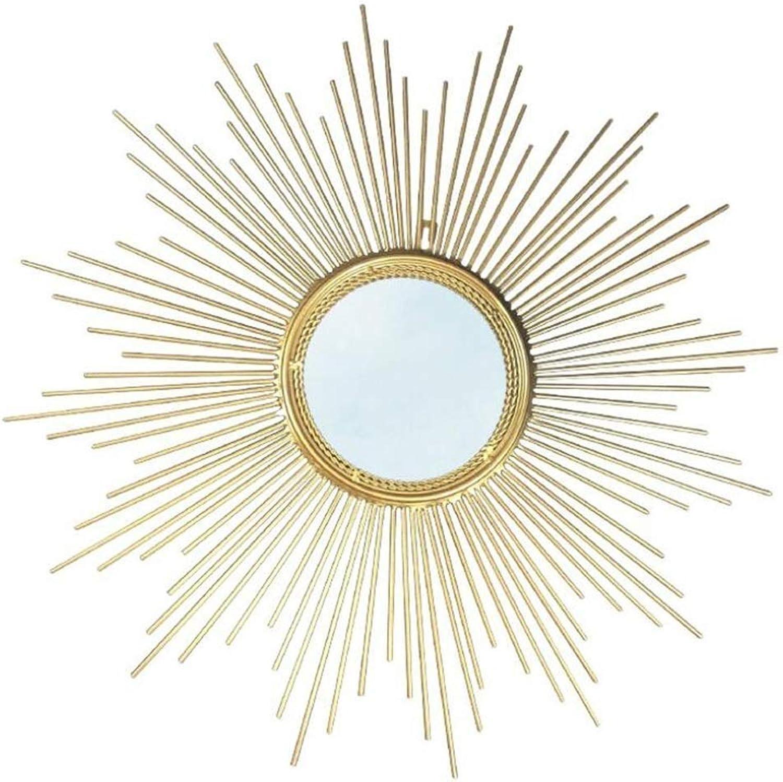XIUXIU Mirror Home Simple Round Sun Flower Wall Hanging Vanity Mirror Metal Decorative Mirror (Size   50CM)