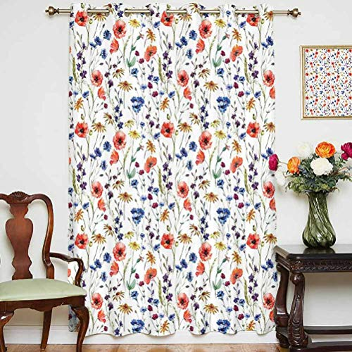 House Decor Sliding Door Curtain Wildflowers Poppy Chamomile Cornflowers Daisies Countryside Fun Illustration Thermal Backing Sliding Glass Door Drape ,Single Panel 63x63 inch,for Office