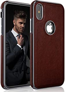 LOHASIC iPhone Xs Case,  iPhone X Case Premium Leather Luxury Slim Fit Soft Flexible Hybrid Bumper Rugged Non-Slip Grip Shockproof Anti-Scratch Protective Cover Cases for Apple iPhone X 10 Xs - Brown
