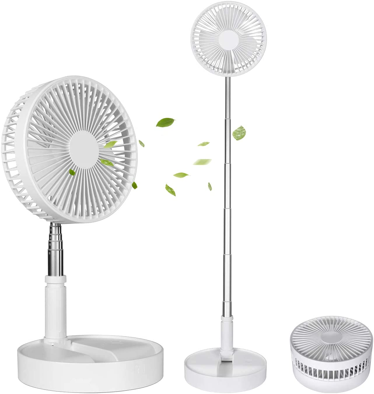 Portable Desk and Table Fan, Foldable Standing Fan, Telescopic Pedestal Fans for Personal Bedroom Office Fishing Camping , Ultra-quiet, 4 Speed Settings, 7200mAh Battery