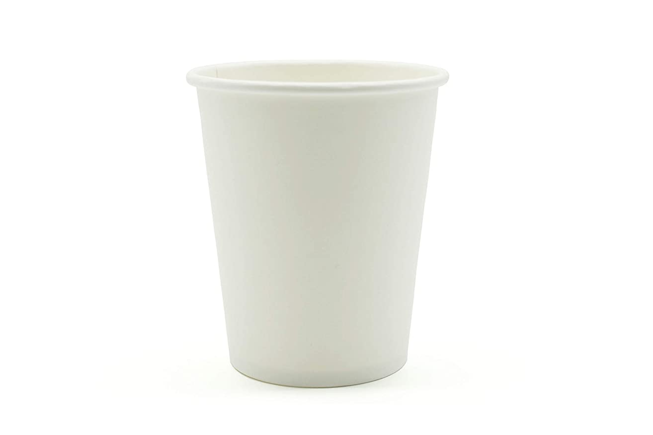 [400 Count] Single Wall Disposable Hot White Paper Cups - Elegant White Cup for Hot Drinks Water Coffee Tea Cocoa Cafe Cappuccino Espresso Latte hot Chocolate Steamer (8OZ) (400)