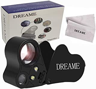 Dreame 30X 60X LED Lighted Illuminated Jewelers Eye Loupe Jewelry Magnifier for Gems Jewelry Rocks Stamps Coins Watches Hobbies Antiques Models Photos(Black)