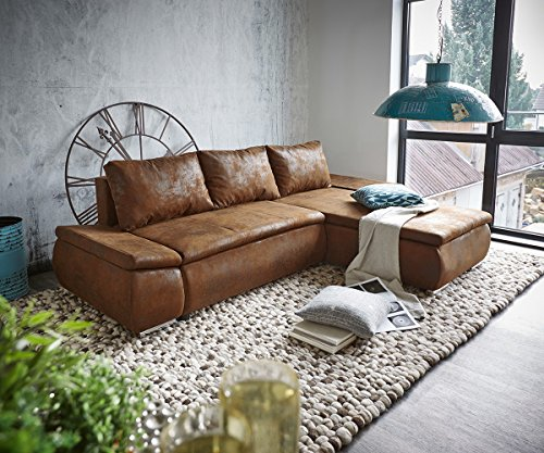 DELIFE Couch Abilene Braun 260x175 mit Bettfunktion Ottomane variabel Ecksofa