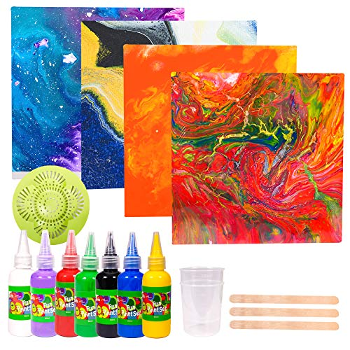 Paint Your Own Washable Paint Pour Set  Pouring Paint Kit Craft Kit and Art Set for Kids Art and Craft Supplies Party Favors for Boys Girls Age 6 12 and up Easter Crafts amp Basket Stuffers