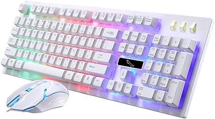 L&Y Glaviers Gaming - Conjunto de Teclado y ratón con Cable, suspensión de Juego USB con sensación mecánica, Kit de ratón y Teclado Luminoso 104 Key