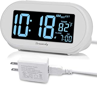 DreamSky Auto Time Set Alarm Clock with Snooze and Dimmer, Charging Station/Phone Charger with Dual USB Port. Auto DST Setting, 4 Time Zones Optional, Battery Backup.