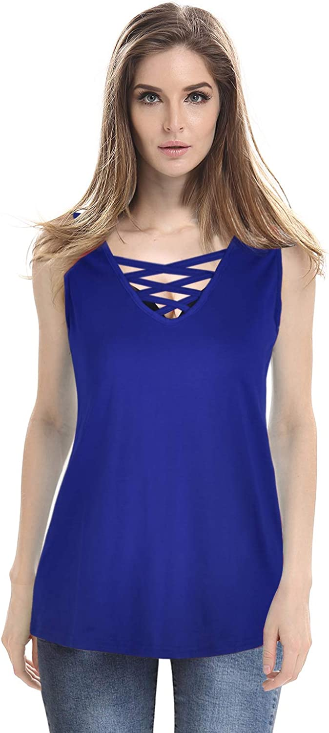 MOONCOLOUR Women's Sleeveless Lace Up Casual Tank Tops Tunic Solid Blouse