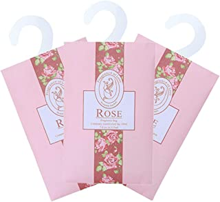 TINKSKY 香り袋 サシェ 3枚セット 花の香り ルームフレグランス 車内用 玄関用 部屋用 芳香剤(バラ)