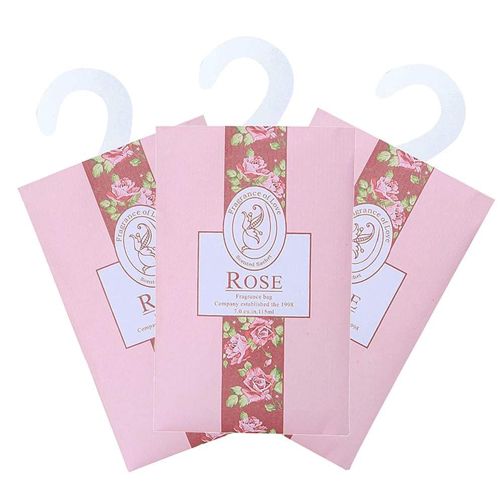 聴覚心配承認TINKSKY 香り袋 サシェ 3枚セット 花の香り ルームフレグランス 車内用 玄関用 部屋用 芳香剤(バラ)