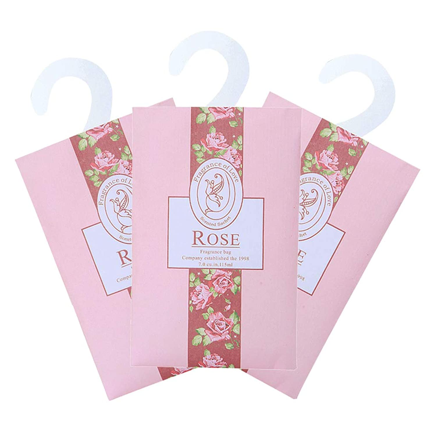台無しに少し関数TINKSKY 香り袋 サシェ 3枚セット 花の香り ルームフレグランス 車内用 玄関用 部屋用 芳香剤(バラ)