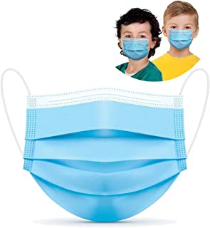 Kids Face Mask 50 Pcs Disposable 3 Ply Safety Face Mask-with Nanofiber Filter Lining-Ages 4-12 Children Face Mask (Blue 50...