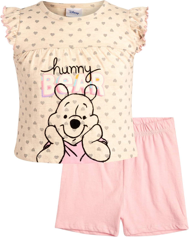 Disney Girls 2 Piece T-Shirt Knit Short Set: Minnie Mouse & Pooh Bear (Infant, Toddler, Little Girls)