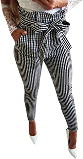 Womens Pencil Pants Plaid Ruffle Pleated Strappy Skinny Crop Trousers