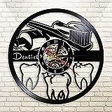 FDGFDG Cepillo de Dientes y Pasta de Dientes Higiene Oral Disco de Vinilo Reloj de Pared Dentista Decoración Luz Cirujano Dental Graduación Regalo de jubilación
