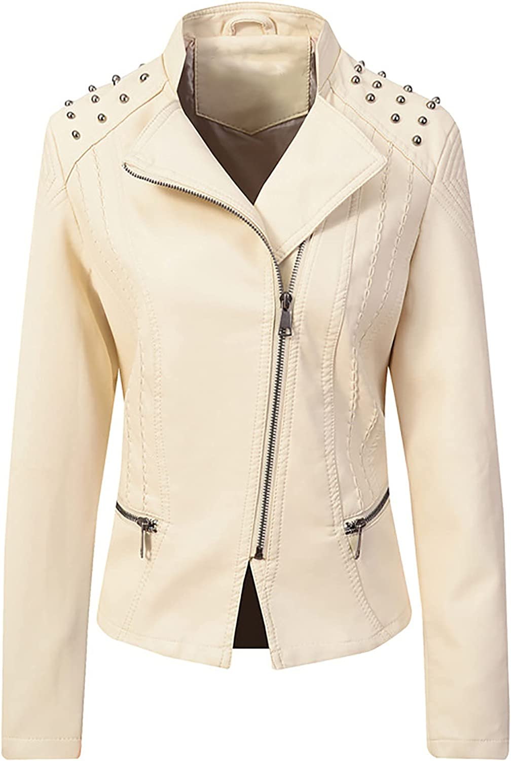 Women Faux Leather Bomber Jacket Solid Color Stand-up Zipper Coat Casual Long Sleeve Rivet Outerwear Moto Pocket Tops