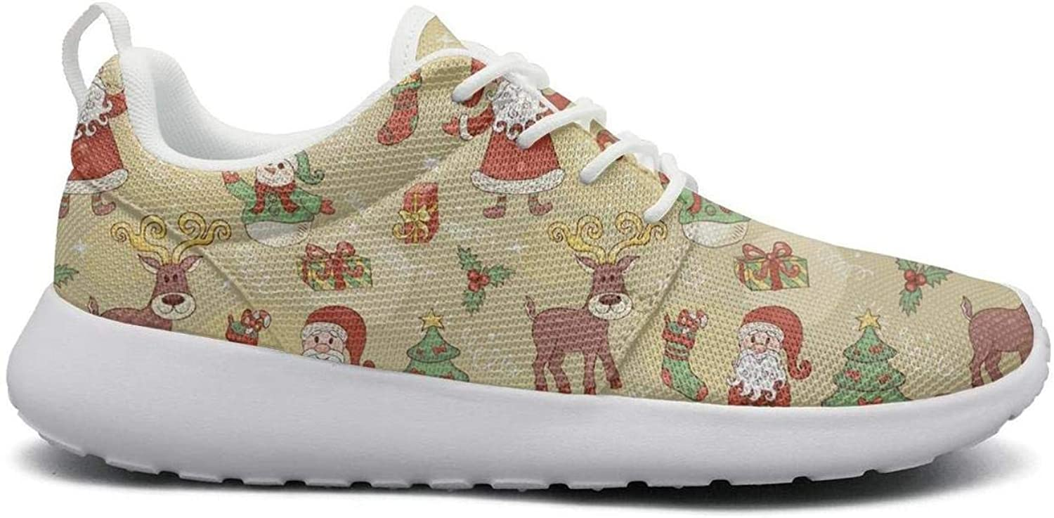 Wirksep Christmas Lettering Background Womens Breathable Lightweight Outdoor shoes Sneakers Soft Rubber