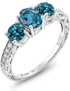 Gem Stone King 2.44 Ct Oval London Blue Topaz 10K White Gold Lab Grown Diamond 3 Stone Engagement Ring