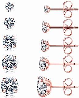 5 Pairs Stud Earrings Set, Hypoallergenic Cubic Zirconia 316L Earrings Stainless Steel CZ Earrings 3-8mm, Rose Gold …