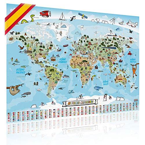 GOODS+GADGETS Mapa Mundial Panorámico para Niños XXL - 140x100cm Mapa Mundial para Niños Completamente Dibujado a Mano y Coloreado (Español)