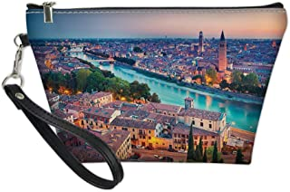 Women Cosmetic Bag Case,Verona Italy During Summer Sunset Blue Hour Adige River Medieval Historcal,Toiletry Makeup Bag for Travel