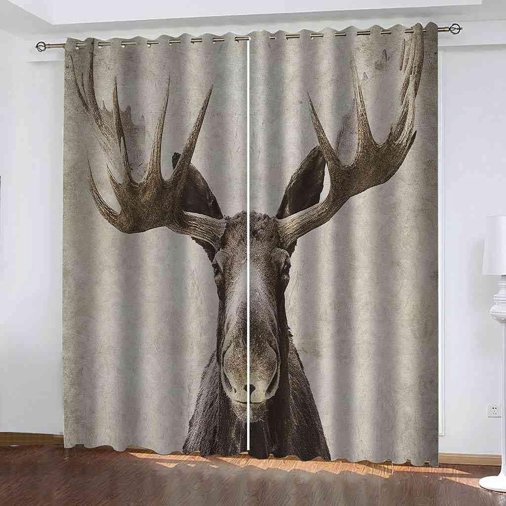 GXLOGA Blackout Grommet Curtains for Bedroom Retro Animal elk W5