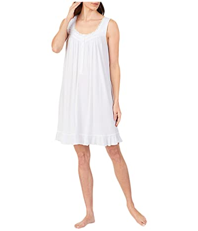 Eileen West Modal Spandex Knit Sleeveless Short Nightgown (White) Women