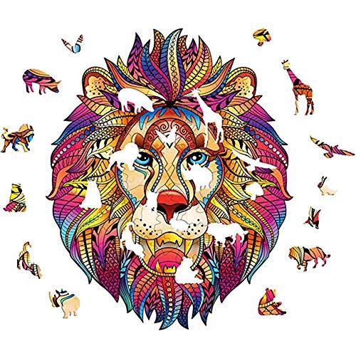 León Colorido Puzzle de Madera, Regalos de Piezas de Rompecabezas Animales Dibujos Animados Forma única para Adultos y niños (A5)