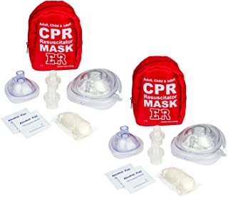 Ever Ready First Aid Adult and Infant CPR Mask Combo Kit with 2 Valves (with Pair of Nitrile Gloves & 2 Alcohol Prep Pads) - 2 Pack