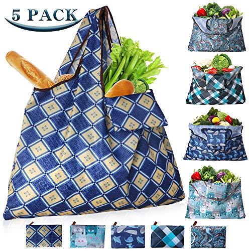 Shopping Bags Reusable Washable Shopping Bags Foldable 55LBS XX-Large Eco-Friendly Ripstop Tote Heavy Duty Reusable Bags for Groceries with Wide Handle, 5-Pack Lattice Dolphin Cat Bihemia Pattern
