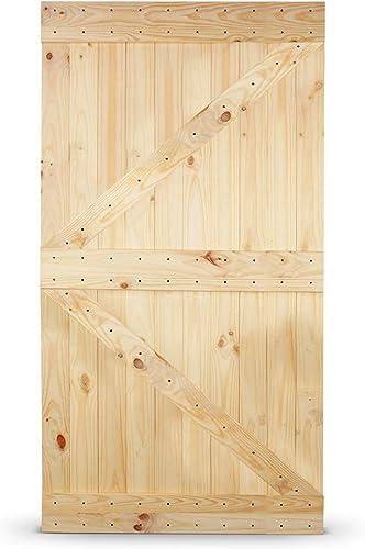 lowest BELLEZE Sliding Barn Door Elegant Natural Pine Wood Panel DIY (42in x 84in) Perfect for Interior outlet sale Exterior Bedroom, lowest Left Arrow outlet sale