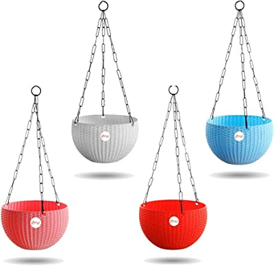 Kraft Seeds Hanging Planter Euro Elegance Round Solid Look and Feel Pots for Home & Balcony Garden 17.5cm Diameter (Pack of 4)
