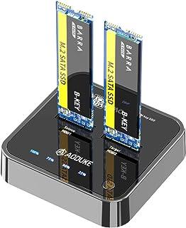 AOJUE Dual-Bay M.2 SATA Docking Station, Clone Dual-Bay External Hard Drive SSD Enclosure for M&B Key NGFF 2230/42/60/80/1...
