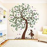 Wandtattoo Loft Wandaufkleber Baum Mädchen mit Gießkanne (4farbig) - Wandtattoo Kinderzimmer /4 Größen / / 60 cm breit x 70 cm hoch