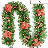 ZHongWei - Corona de Navidad Navidad ratán, ratán Navidad suministra decoración Interior Winding Marco de la Puerta de Madera Largo de cifrado Vid de la Flor de Las Flores Arboles de Navidad