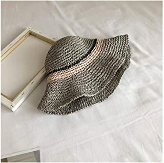 Hats Travel Sunscreen Straw Hat Hat Female Spring and Summer Wild Beach Hat Fashion (Color : Grey, Size : 56-58cm)