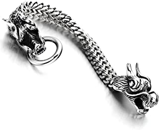 Gothic Style Biker Mens Stainless Steel Dragon Curb Chain Bracelet Spring Ring Clasp 8.3 Inches