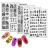 5pcs 9.5×14.5cm Nail Stamping Plates Flame Mandala Flowers Animal LOVE Heart Nail Art Stamp Templates Stainless Steel Stencil Accessories Tool