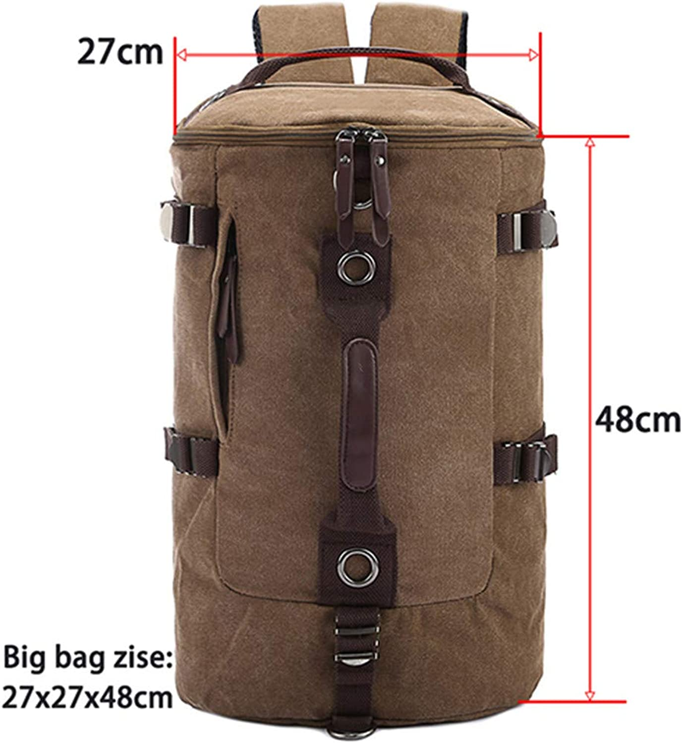 Large Capacity Man Travel Bag Mountaineering Men Bags Canvas Bucket Shoulder Backpack Coffee Large