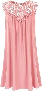 Womens Plus Size Lace Sleeveless Casual Loose Swing T-Shirt Midi Dress