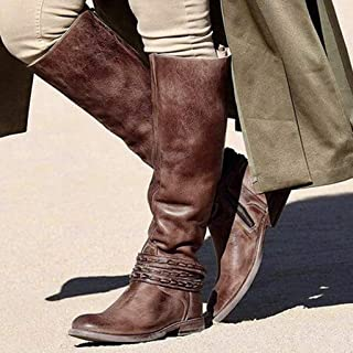 ⭐ Futurelove ⭐ Women's Retro Chunky Square Heeled Boots 2020 Casual Back Zipper Motorcycle Boots Buckle Straps Punk Combat Boots Fashion 2019 Winter Vintage Boots Knee High Riding Boots