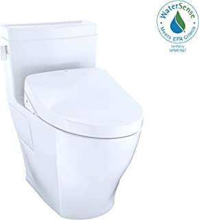 TOTO MW6243056CEFG#01 WASHLET+ Legato One-Piece Elongated 1.28 GPF Toilet and Contemporary WASHLET S550e Bidet Seat, Cotton White
