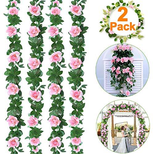 Dreamoo Künstliche Rosenrankengirlande, künstliche Blumen