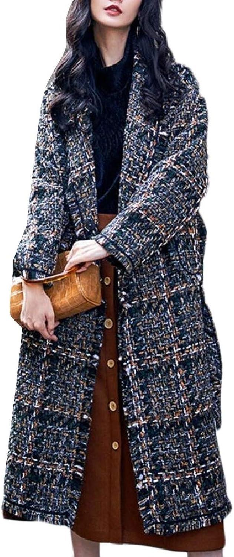 LEISHOP Women's Tweed Woolen Overcoat Stripe Thick Lapel Jacket Trench Coat